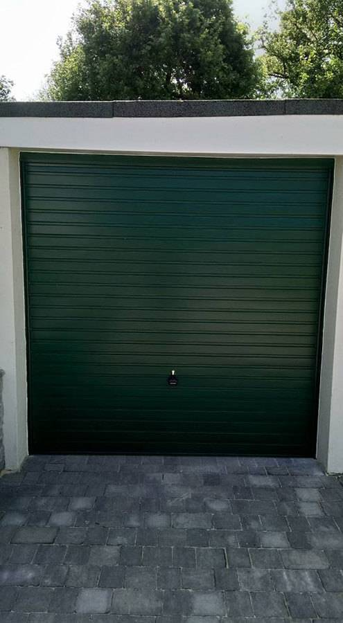 a green garage door