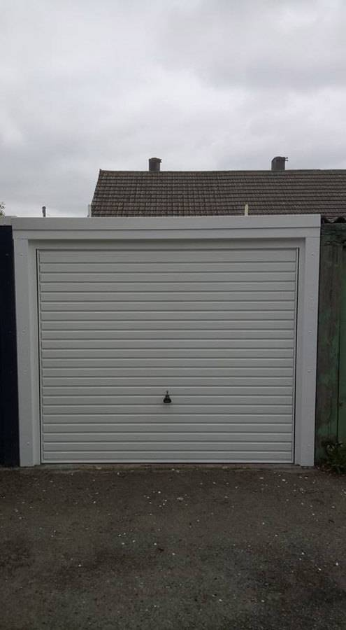 a white garage door